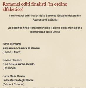 """I tre finalisti del premio """"Raccontami la Storia"""""""